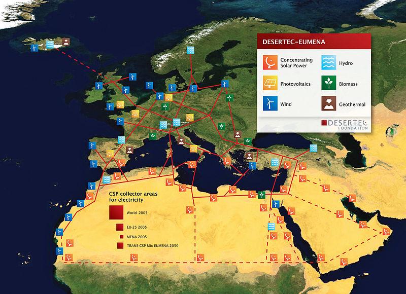 Das DESERTEC-Projekt. Je nach Region sind unterschiedliche erneuerbare Energiequellen optimal. Daher soll ein großes interkontinentales Netz entstehen, das die Quellen miteinander verbindet und den Strom in die Ballungszentren leitet. | CC BY-SA 2.5 TREC