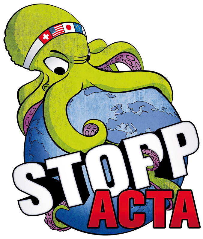 Logo Stopp ACTA | CC-BY 2.5 Switzerland by Piratenpartei Schweiz