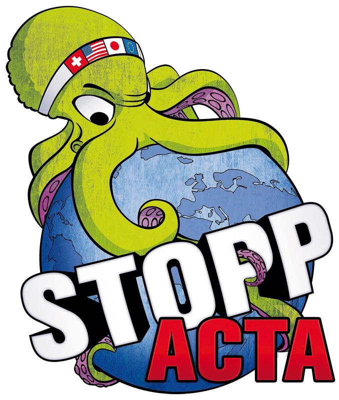 Logo Stopp ACTA | CC-BY 2.5 Switzerland by Piratenpartei Schweiz