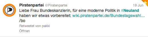 Piraten kontern sofort. Quelle twitter.com, @Piratenpartei