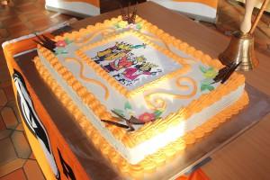 Dreikönigstreffen 2015 in Erlangen: Der Landesverband Bayern der Piratenpartei erhält zum 8. Geburtstag eine riesige Torte. Foto/CC-BY-SA 3.0 Olaf Konstantin Krueger.