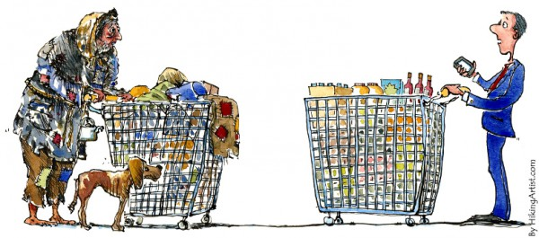 shopper-meets-homeless illustration | CC BY NC ND 2.0 Frits Ahlefeldt-Laurvig