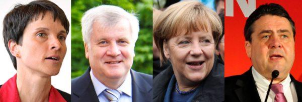 Frauke Petry, Horst Seehofer, Angela Merkel und Horst Seehofer | CC BY SA 2.0 Piratenpartei Deutschland (mit Bildern vom Christlichen Medienmagazin,  der SPD Schleswig Hollstein, Philipp und Lisa Roderer