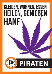 """Wahlplakat """"Kleiden, Wohnen, Essen, Heilen, Genießen - Hanf"""""""