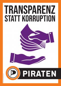 "Wahlplakat ""Transparenz statt Korruption"""